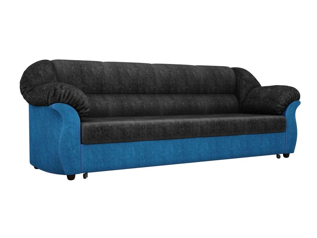 Диван ЛигаДиванов Карнелла 114 60399 велюр черный/голубой - фото 1