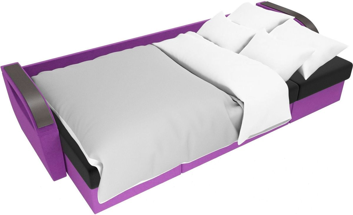 Диван ЛигаДиванов Mebelico Форсайт микровельвет фиолетовый/черный - фото 7