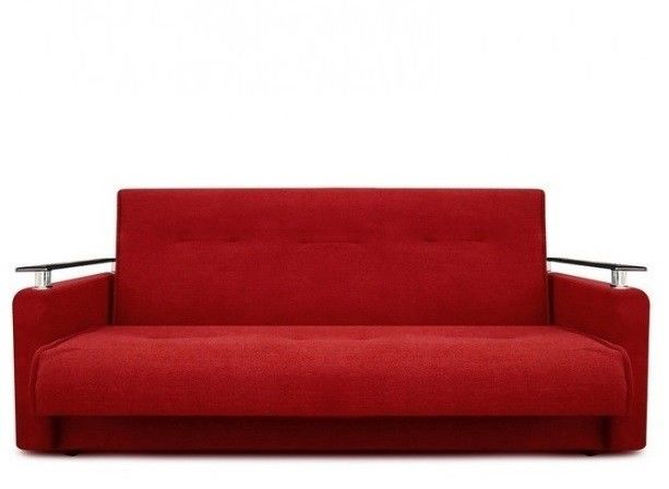 Диван Луховицкая мебельная фабрика Милан Люкс (Астра красный) пружинный 120x190 - фото 2