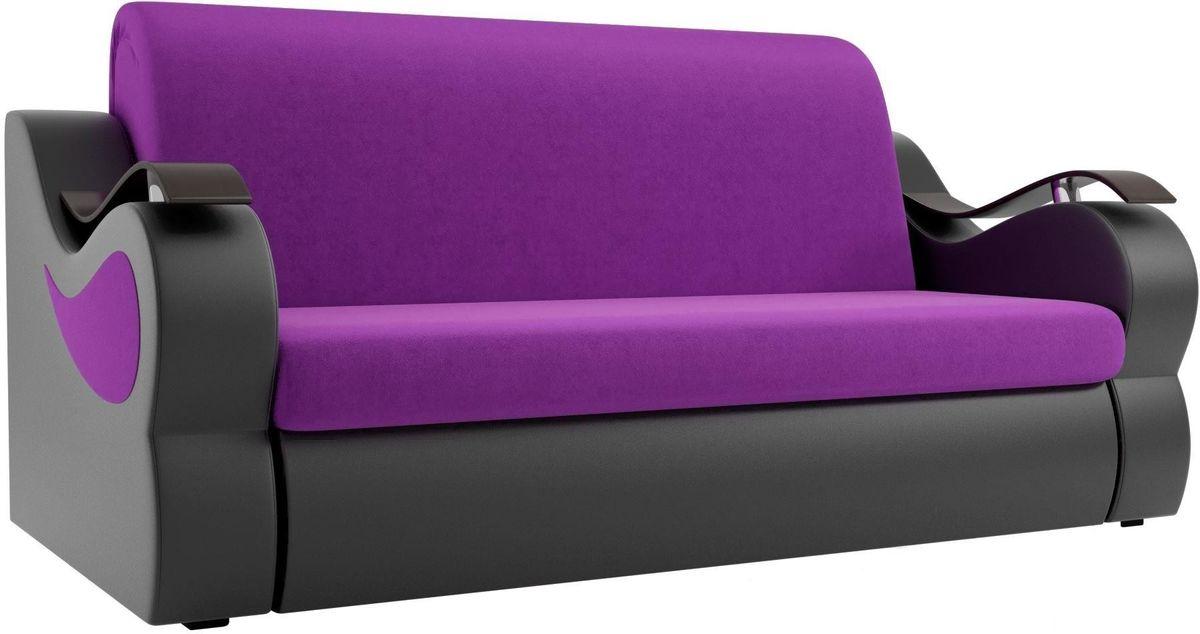Диван Mebelico Меркурий 222 140, вельвет фиолетовый/экокожа черный - фото 1