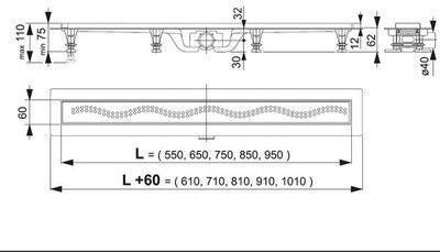 Водоотвод для ванной комнаты AlcaPlast Душевой трап APZ8-750M - фото 2