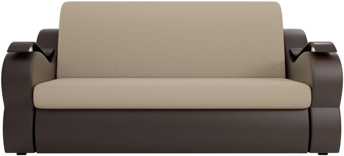 Диван Mebelico Меркурий 222 140, рогожка бежевый/экокожа коричневый - фото 1