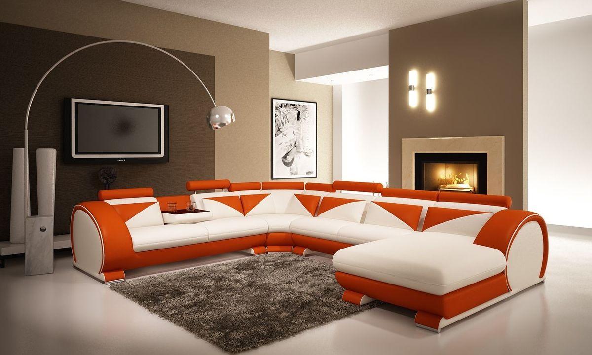 Диван Блумберг белый/оранжевый - фото 1