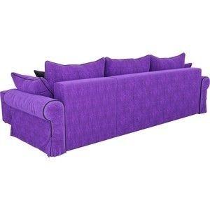 Диван ЛигаДиванов Элис 123 угловой правый 60653 велюр фиолетовый, черные подушки - фото 3
