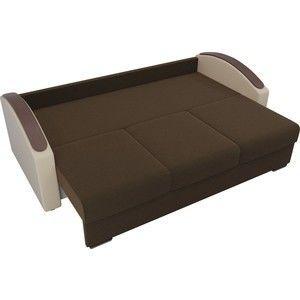 Диван ЛигаДиванов Монако slide микровельвет коричневый подлокотники экокожа бежевые подушки микровельвет бежевый - фото 5