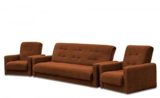 Набор мягкой мебели Луховицкая мебельная фабрика Милан Астра коричневый (диван+2 кресла) 120x190 - фото 1