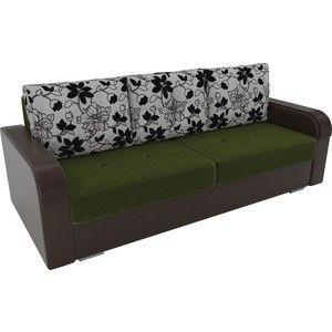 Диван ЛигаДиванов Мейсон микровельвет зеленый экокожа коричневый подушки рогожка на флоке - фото 2