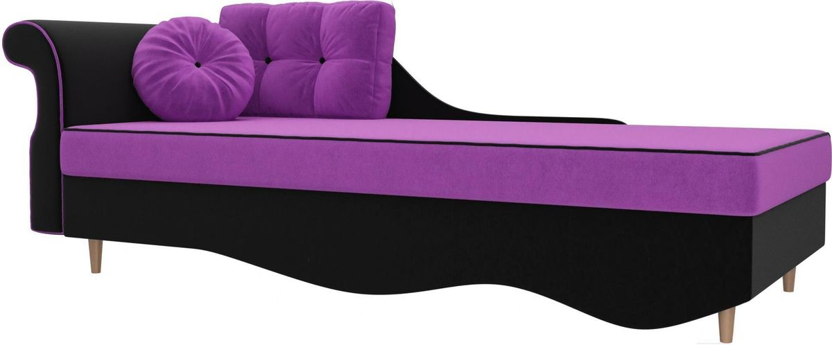 Диван Mebelico Лорд левый 101226 микровельвет фиолетовый/черный - фото 1