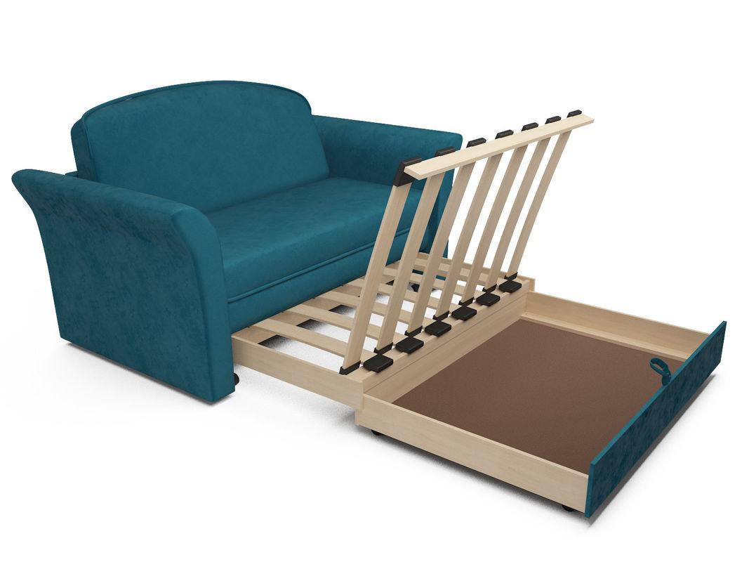 Диван Мебель-АРС Малютка №2 (бархат сине-зеленый  STAR VELVET 43 BLACK GREEN) - фото 6