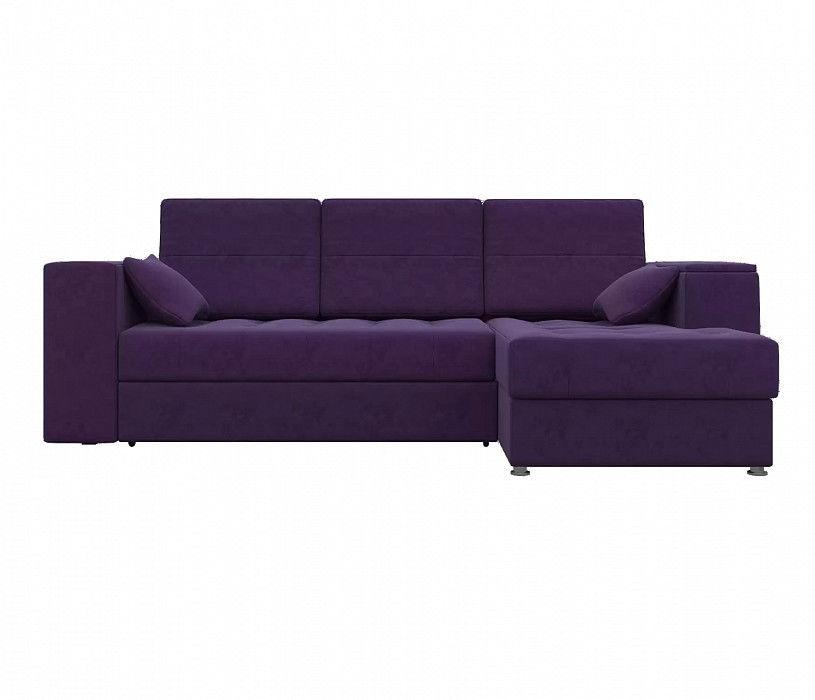 Диван Mebelico Атлантис Угловой микровельвет фиолетовый - фото 3