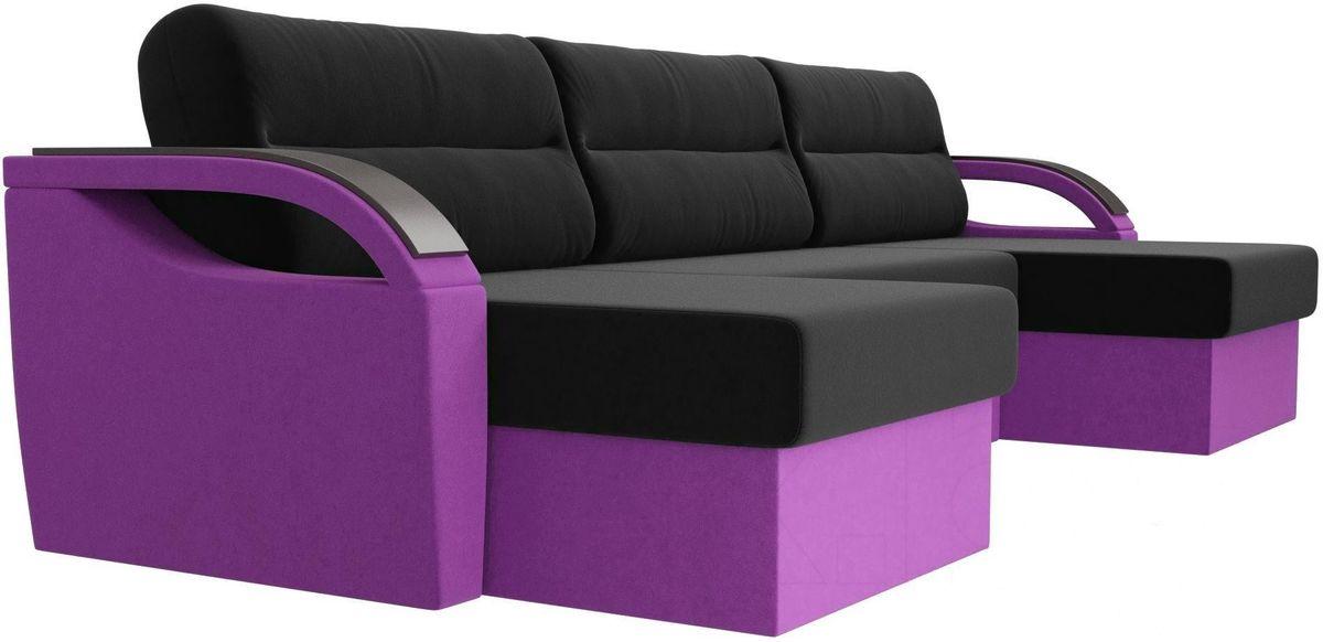 Диван ЛигаДиванов Mebelico Форсайт микровельвет фиолетовый/черный - фото 2