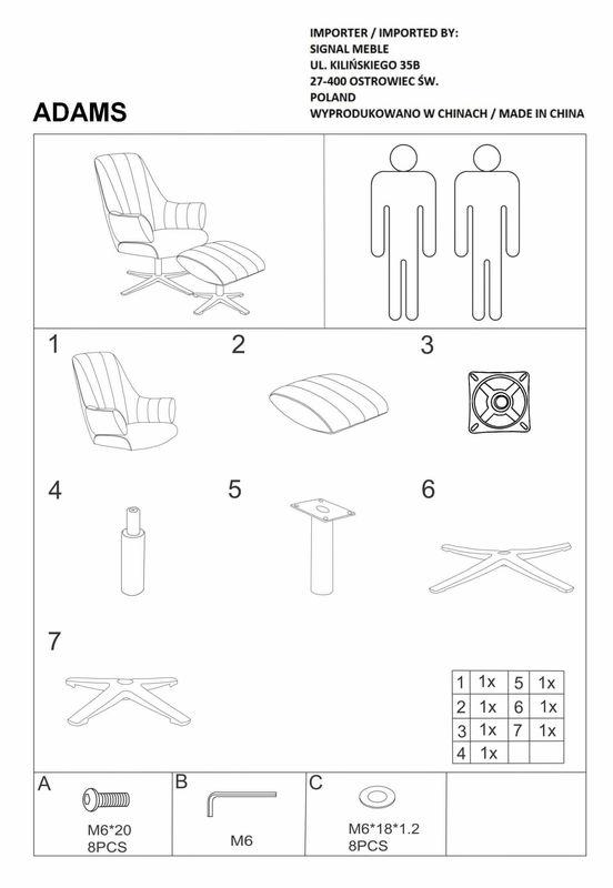 Кресло Signal ADAMS VELVET BLUVEL 14, кресло+подставка для ног (серый) ADAMSVSZ - фото 3