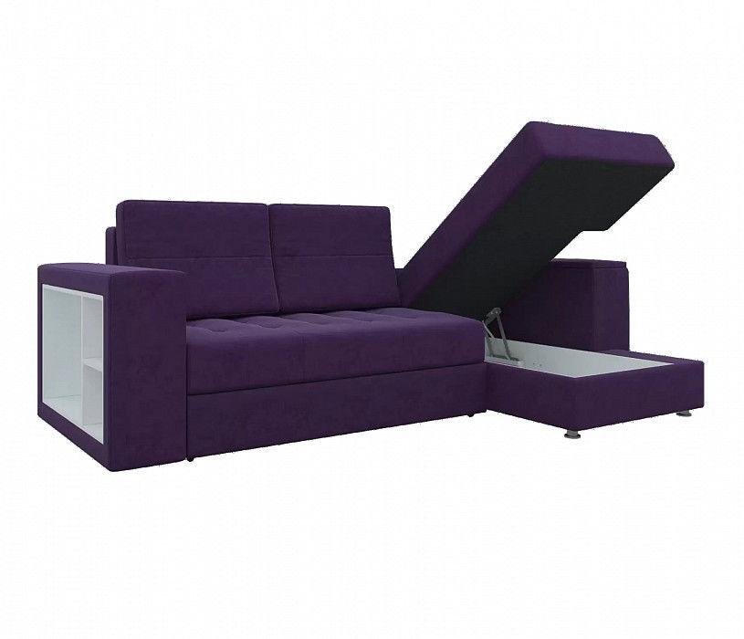 Диван Mebelico Атлантис Угловой микровельвет фиолетовый - фото 2
