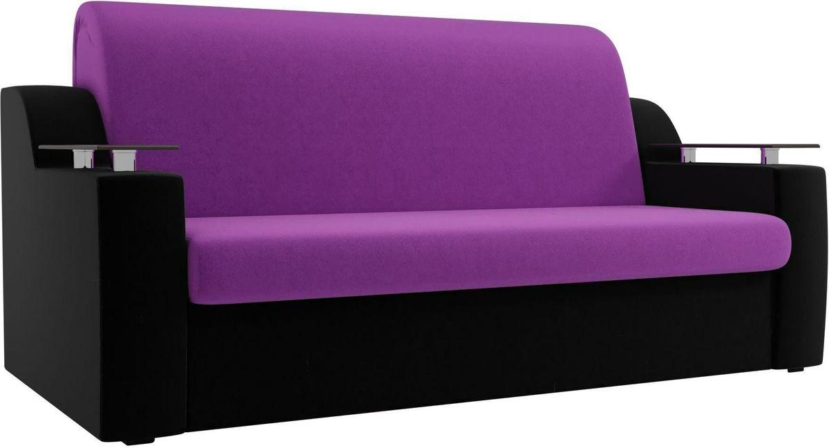 Диван Mebelico Сенатор 100714 120, микровельвет фиолетовый/черный - фото 3