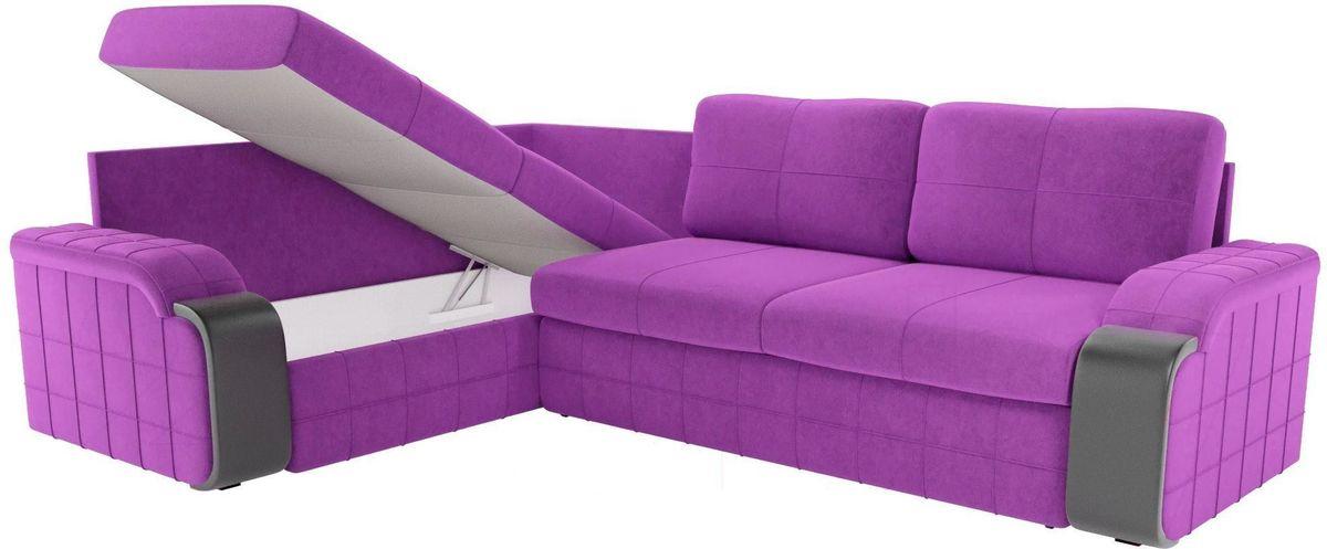 Диван ЛигаДиванов Николь 103 левый 60195 микровельвет фиолетовый/черный - фото 5