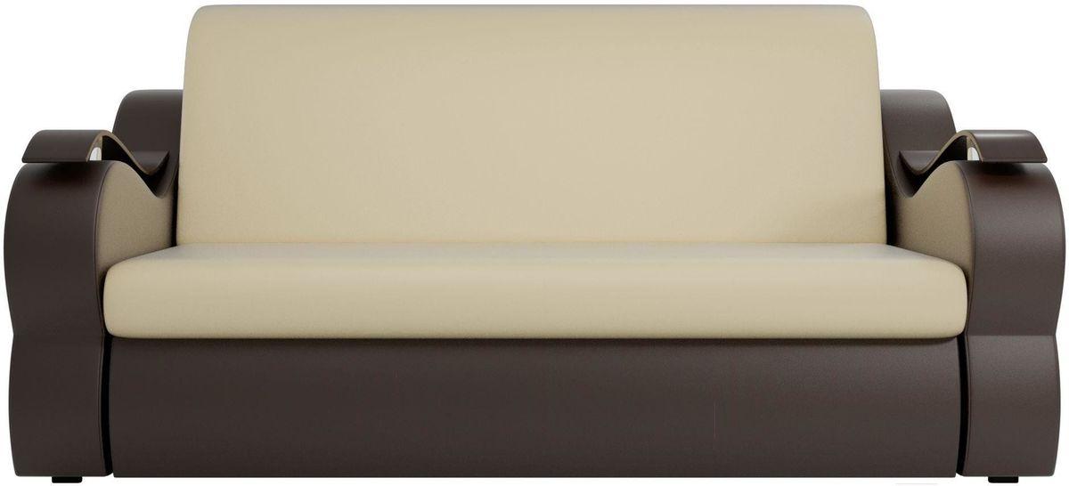 Диван Mebelico Меркурий 222 140, экокожа бежевый/коричневый - фото 1