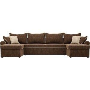Диван ЛигаДиванов Элис П 124 60664 велюр коричневый бежевые подушки - фото 4