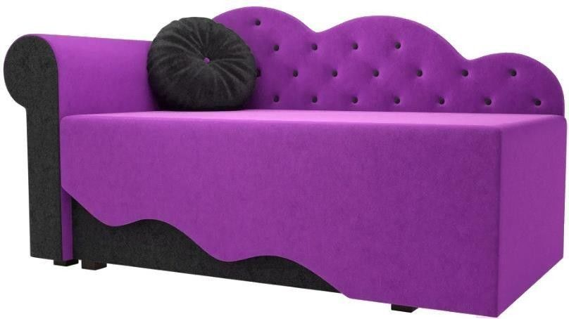 Диван Mebelico Тедди-1 106 левый 60492 микровельвет фиолетовый/черный - фото 1