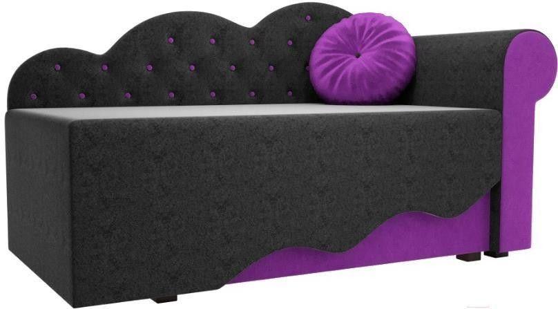 Диван Mebelico Тедди-1 106 правый 60493 микровельвет черный/фиолетовый - фото 1