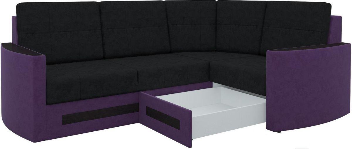 Диван Mebelico Белла У 476 правый вельвет черный/фиолетовый - фото 3