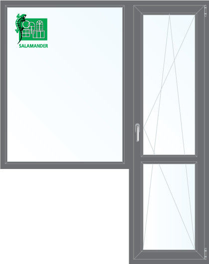 Окно ПВХ Salamander 1860*2160 2К-СП, 5К-П, Г+П/О ламинированное (серый) - фото 1