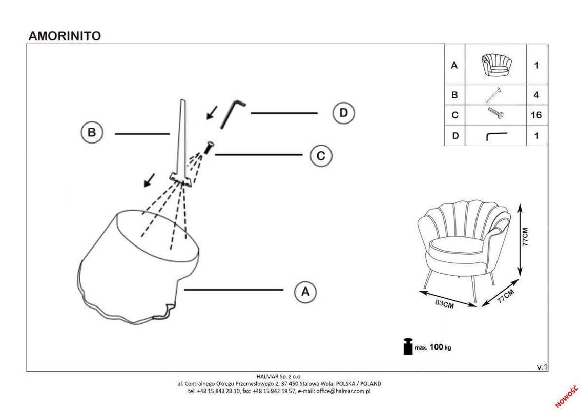 Кресло Halmar AMORINITO (светло-розовый/золотой) V-CH-AMORINITO-FOT-J.ROZOWY - фото 2