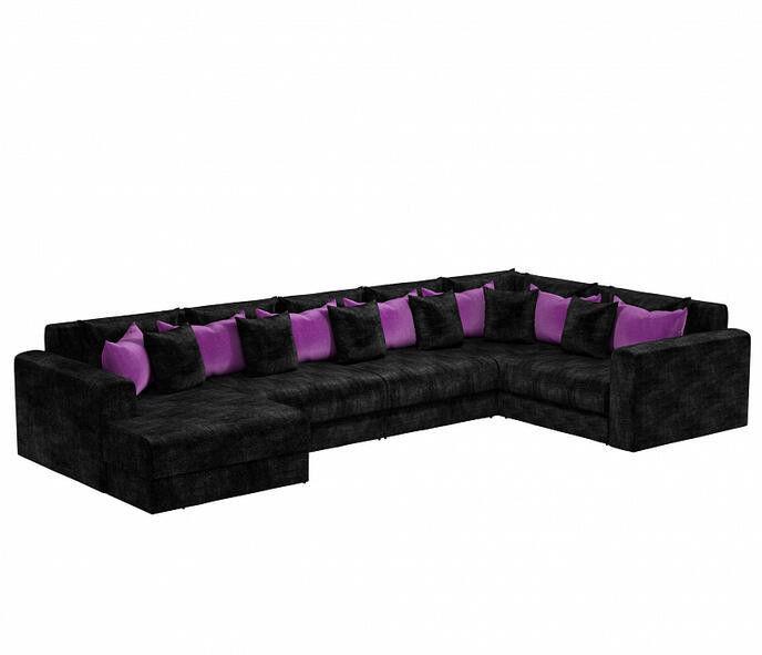 Диван Craftmebel Мэдисон П-образный чёрный вельвет/фиолетовый вельвет - фото 1