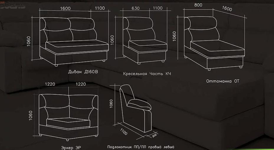 Диван DM-мебель Версаль (В2) модульный - фото 4