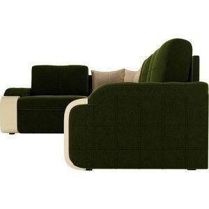 Диван ЛигаДиванов Николь 103 левый 60193 микровельвет зеленый/бежевый - фото 5