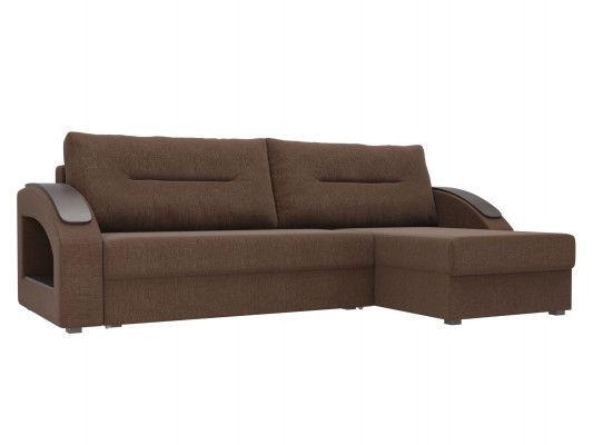Диван ЛигаДиванов Канзас угловой правый 101160 рогожка коричневый - фото 1