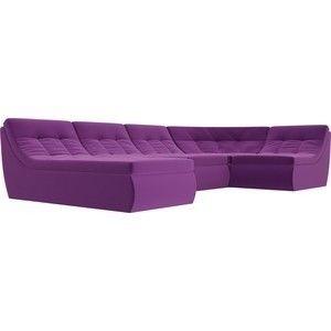 Диван ЛигаДиванов Холидей п-образный микровельвет фиолетовый - фото 5