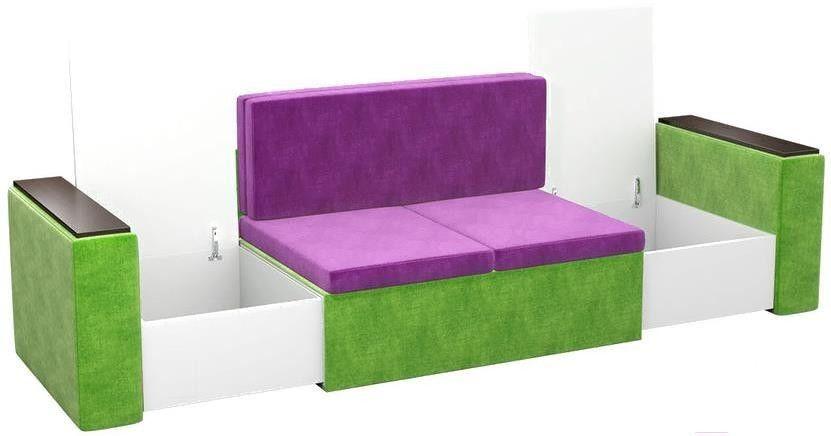 Диван Mebelico Арси 2 микровельв. фиолетовый/зеленый - фото 3