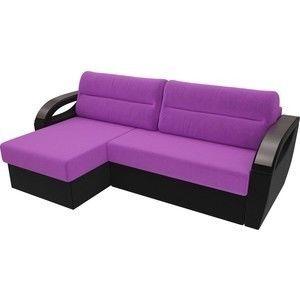 Диван ЛигаДиванов Форсайт левый микровельвет фиолетовый/черный - фото 3