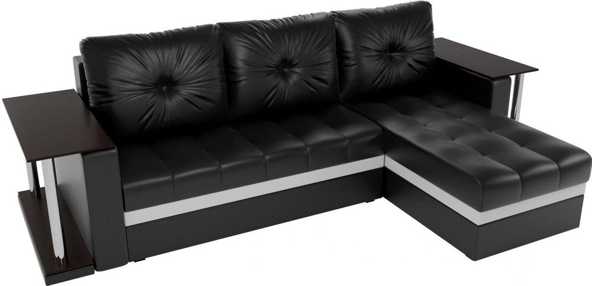 Диван Mebelico Атланта М правый 2 стола экокожа черный - фото 4
