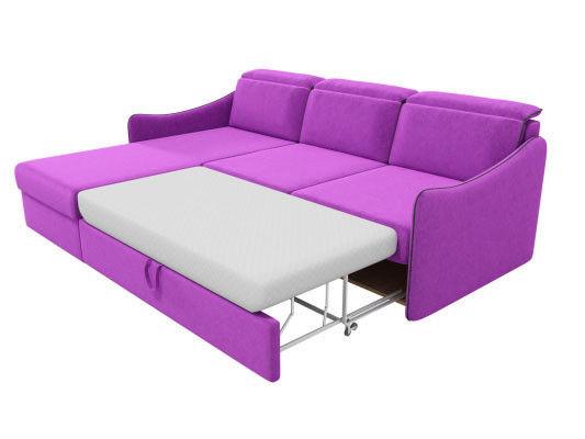 Диван ЛигаДиванов Скарлетт 125 угловой левый 60677 вельвет фиолетовый - фото 4
