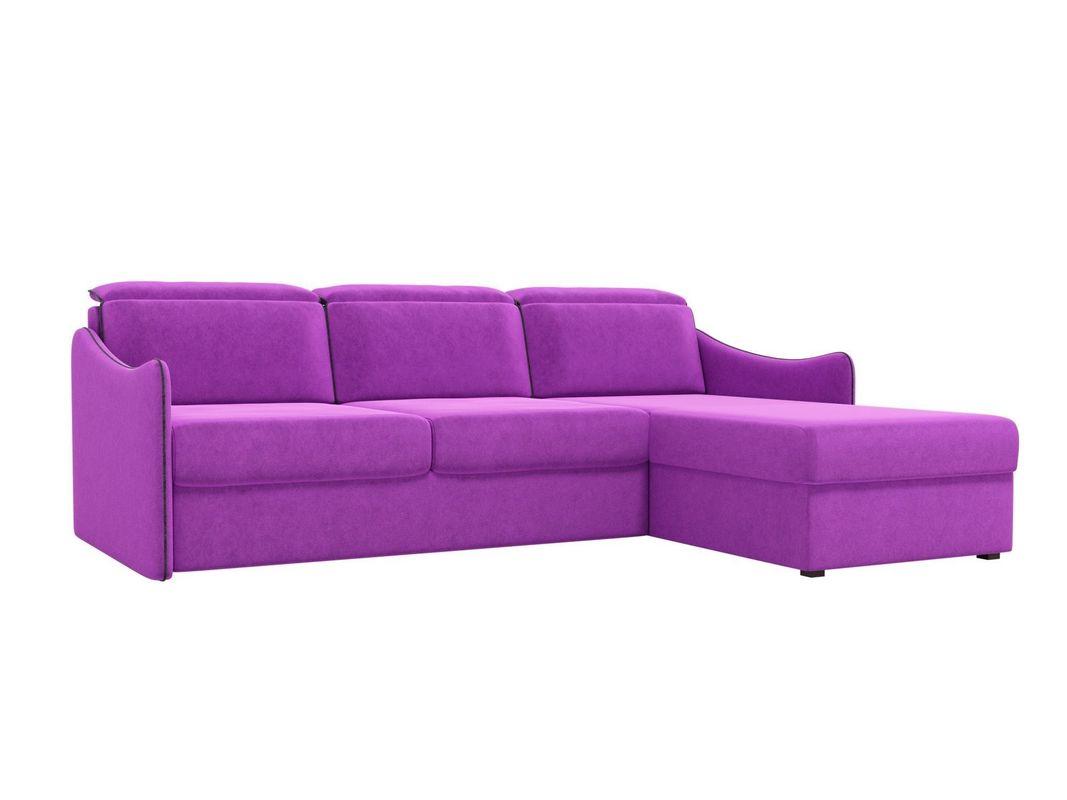 Диван ЛигаДиванов Скарлетт 125 угловой правый 60677 вельвет фиолетовый - фото 1
