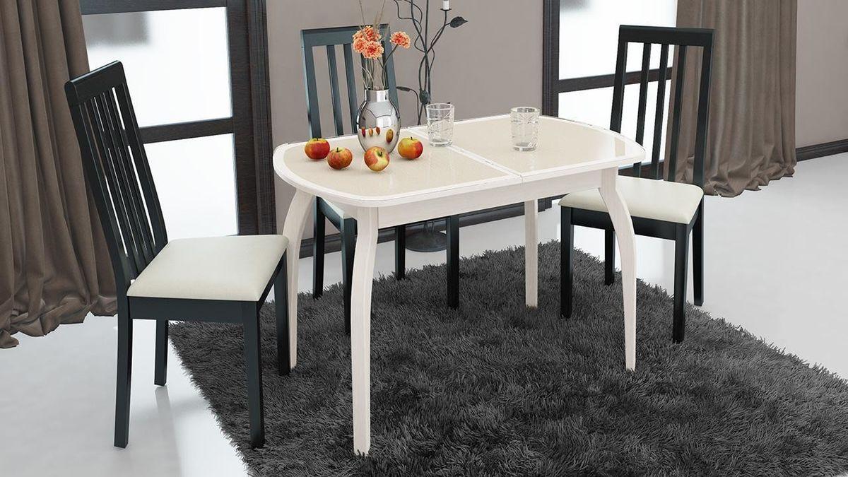 Обеденный стол ТриЯ Ницца 2 раздвижной на деревянных ножках - фото 10