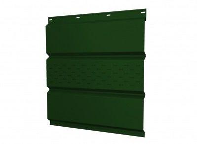 Софит Grand Line металлический центральная перфорация 0,45 РЕ с пленкой RAL 6005 зеленый мох - фото 1
