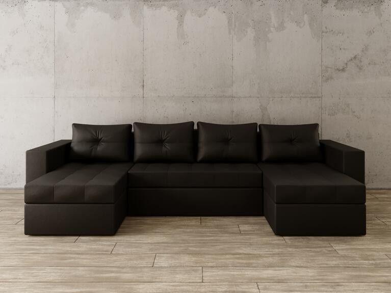 Диван Craftmebel Константин П-образный чёрная экокожа - фото 1
