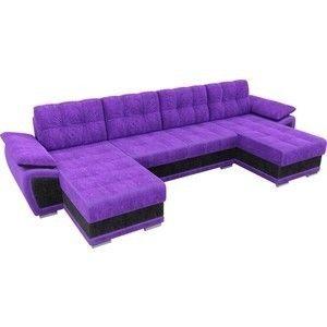 Диван ЛигаДиванов Нэстор п-образный велюр фиолетовый вставка черная - фото 2