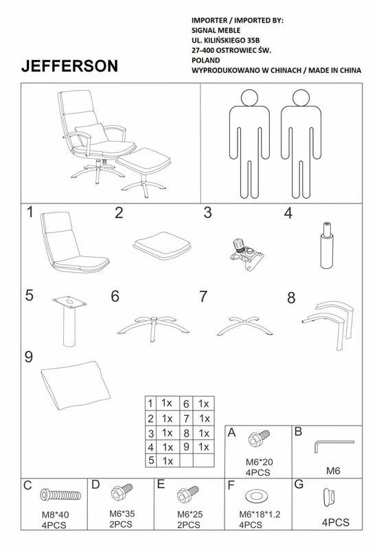 Кресло Signal JEFFERSON TAP. 176, кресло+подставка для ног (серый) JEFFERSONSZ - фото 3