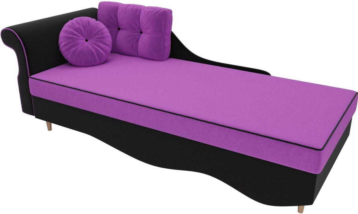 Диван Mebelico Лорд левый 101226 микровельвет фиолетовый/черный - фото 3