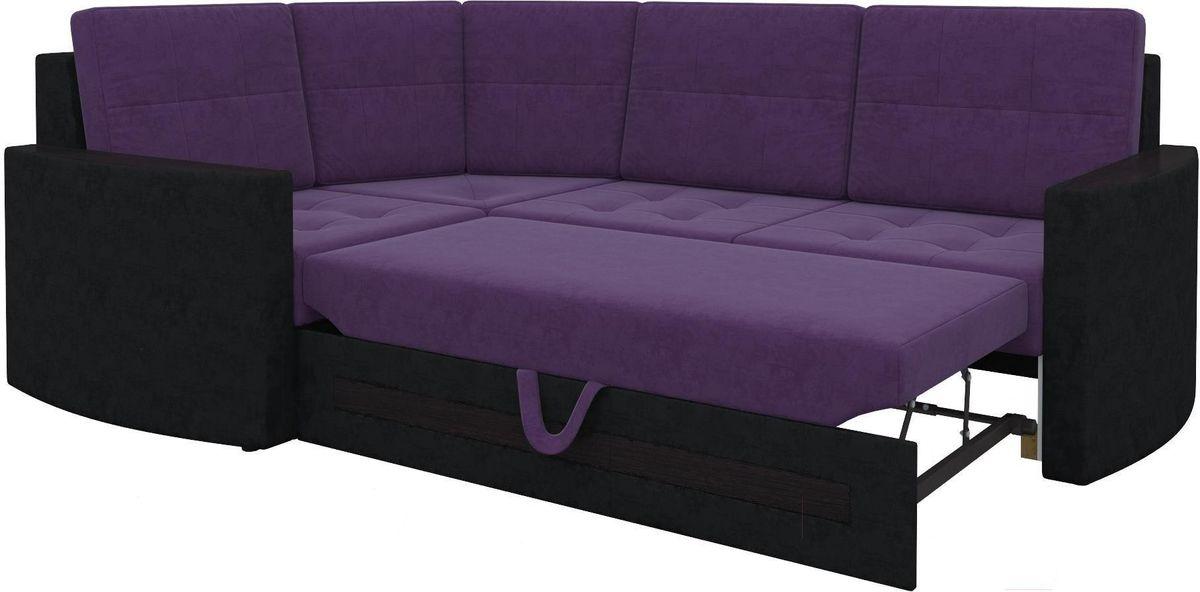 Диван Mebelico Белла У 476 угловой левый вельвет черный/фиолетовый - фото 8