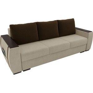 Диван ЛигаДиванов Брион микровельвет бежеый, подушки коричневые - фото 2