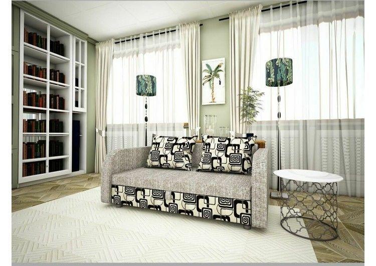 Диван Раевская мебельная фабрика Малыш с подлокотниками рогожка серая+квадраты 00611 - фото 1