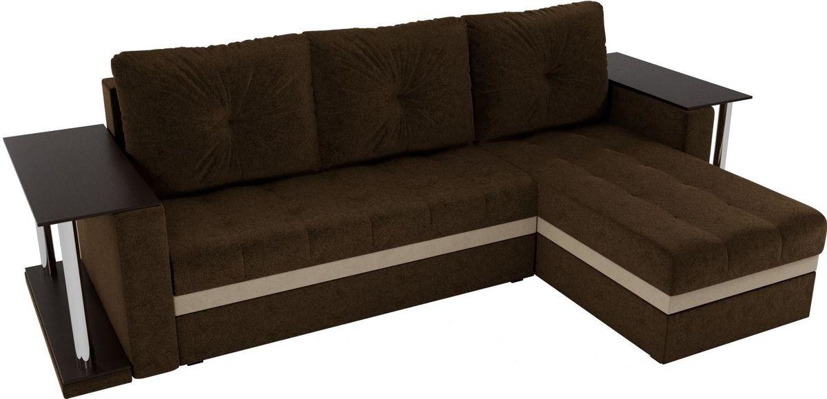 Диван Mebelico Атланта М правый 2 стола вельвет коричневый - фото 4