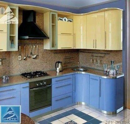 Кухня ЗОВ Из пластика Лазурь+беж - фото 1