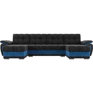 Диван ЛигаДиванов Нэстор п-образный велюр черный вставка голубая - фото 4