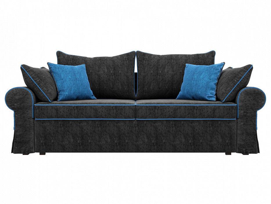Диван Mebelico прямой Элис Велюр черный\голубой - фото 4