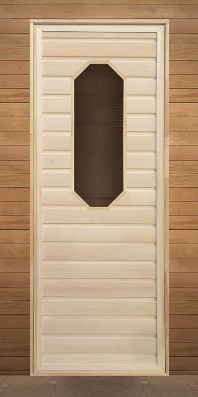 Дверь для бани и сауны Литком Липа восьмиугольное стекло 1900x700 (коробка хвоя) - фото 1